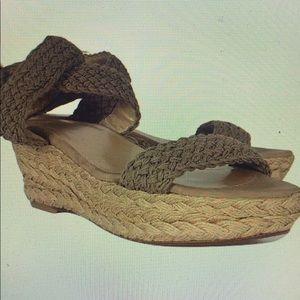 Stuart Weitzman taupe crochet wedge sandal
